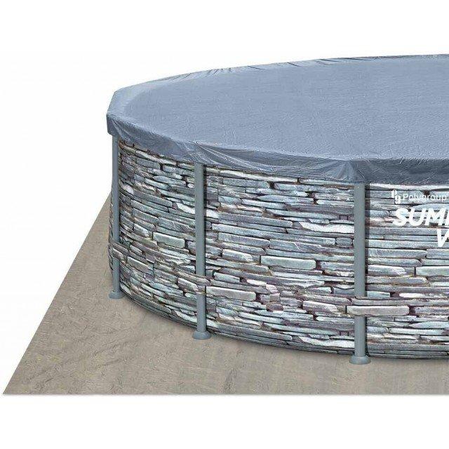 Комплект  Summer Waves- Басейн с усилена мет. рамка, сив камък 4.27м./1.07м., Покривало, Положка, Стълба, Комплект за почистване