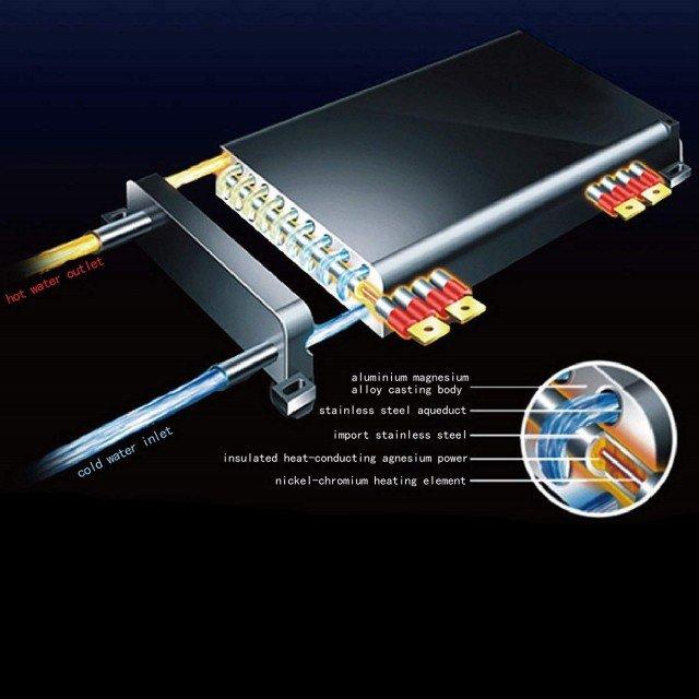 Проточен бойлер за баня 10,5kW, електронно управление, 44/22/8см.