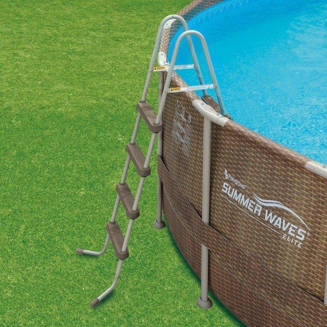 Комплект басейн 488см./ 122см. с помпа и филтър, стълба, подложка, покривало, стълба, тъмен ратан Summer waves